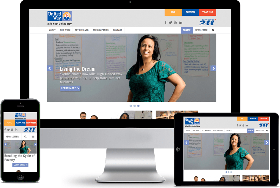 mile high, united way, website, responsive