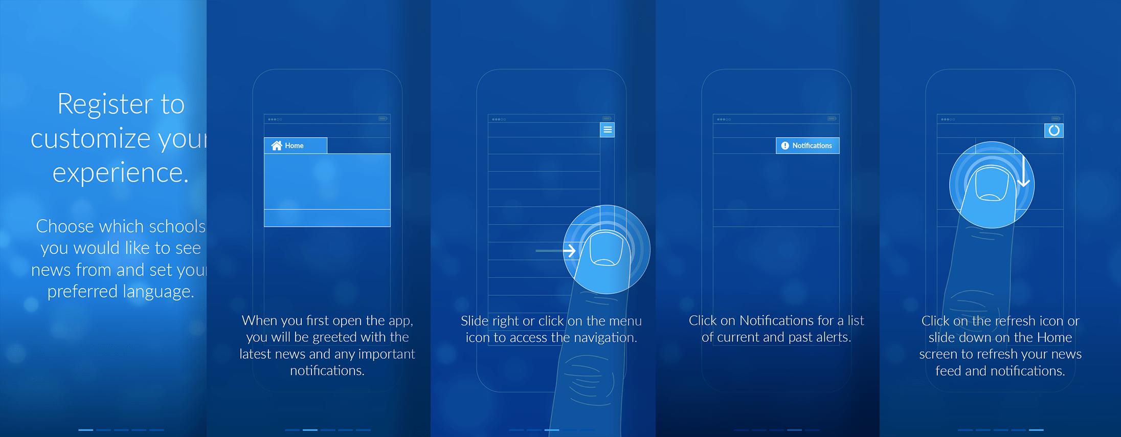 K-12 Mobile Application Help Screens