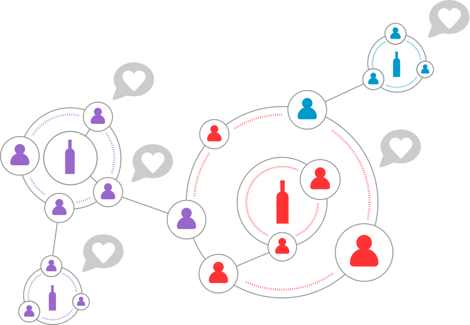 illustration showing wine sharing network